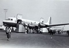 """Douglas DC-6A N30006 in house colors with """"Liftmaster"""" titles. LAX Open House 1949 