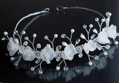 Wire Bridal Tiara Ivory Pearls Crystals Bridal by HandyCraftTS, $51.00