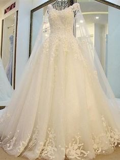 A-line Scoop Neck Appliqued Wedding Dresses, Pure Sweep Train Wedding Dresses Fairy Wedding Dress, Muslim Wedding Dresses, Wedding Dress Train, Custom Wedding Dress, Wedding Dresses 2018, Cheap Wedding Dress, Quinceanera Dresses, Bridal Dresses, Prom Dresses