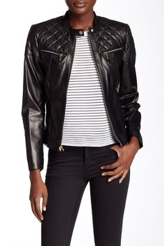 Cole Haan - Genuine Lambskin Leather Moto Inspired Jacket at Nordstrom Rack. Free Shipping on orders over $100.