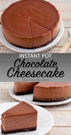 Instant Pot Chocolate Cheesecake - This Silky Dark Chocolate Cheesecake Is Lightly Sweetened, With A Rich Chocolate Crust. Ideal For Chocolate Lovers Serve With A Cup Of Coffee, Or Sliced Strawberries For The Finishing Touch. Food Cakes, Bon Dessert, Dessert Recipes, Easy Desserts, Pasta Recipes, Instant Pot Cheesecake Recipe, Chocolate Cheesecake Recipes, Dessert Chocolate, Cheesecake Crust