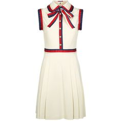 Gucci Stripe Trim Jersey Dress ($1,590) ❤ liked on Polyvore featuring dresses, white retro dress, white day dress, stripe jersey dress, white jersey and striped dresses
