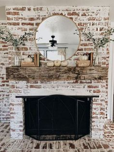 Try one of these 35 gorgeous natural brick fireplace ideas to complete your modern farmhouse or chic oceanfront / indoor living spaces on the coast. German Schmear- and White-Washed-Brick-Tutorials included. Refresh your tired, outdated fireplace House Design, Fall Mantel Decorations, Home Fireplace, White Wash Brick, Fireplace Design, Farmhouse Fireplace, Modern Farmhouse, Fireplace, Rustic House
