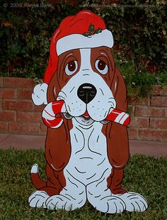 Christmas Yard Art, Christmas Yard Decorations, Christmas Drawing, Christmas Animals, Christmas Wood, Christmas Images, Outdoor Christmas, Christmas Projects, Basset Hound Dog