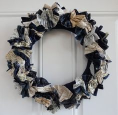 Navy, White and Beige Fabric Ruffle Wreath (16 inch). $39.00, via Etsy.