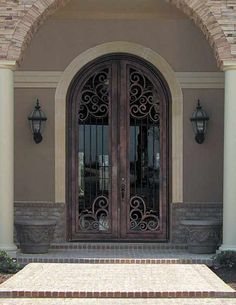 arched door with glass | Arched Single Front Door with wrought ...
