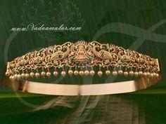 Large Size Ruby AD stones Lakshmi and Peacock Design Vaddanam Kamarpatta Waist Hip Belt Buy Online