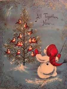 VTG MC DARLING SNOWMAN BIRDS IN GLITTERED TREE SINGING USED CHRISTMAS CARD | eBay