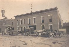 McGuire's Livery Stable (currently Hometown Variety and shown here circa 1915), 15 W. Grand Ave., Chippewa Falls, WI, was built in 1888 and could accomodate 35 horses.