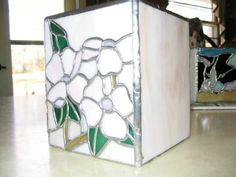 Stained glass tissue box,  Pink Dogwood