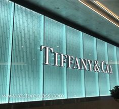 Acid etched pattern on glass for Tiffany storefront, pairing with light, elegant and eye-catching! Exterior Signage, Exterior Design, Glass Design, Wall Design, Signage Light, Tiffany Store, Storefront Signage, Building Aesthetic, Acid Etched Glass