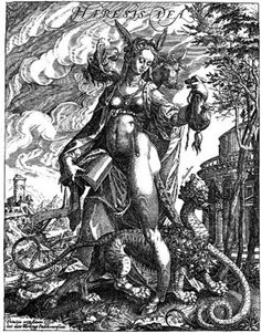 Whore of Babylon. Engraving of the XVI century. The Art from Siberia
