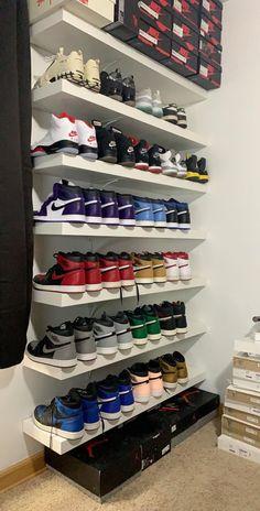 Shoe Room, Shoe Wall, Shoe Closet, Hypebeast Room, Bedroom Setup, Teen Bedroom, Bedrooms, Jordan Shoes Girls, Nike Air Shoes