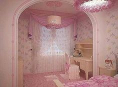 32 different pink kid's room Dream Rooms, Dream Bedroom, Royal Room, Shabby Chic Antiques, Kawaii Room, Luxury Homes Dream Houses, Pretty Room, Cute House, Pink Room
