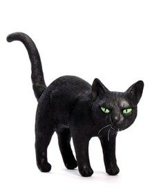spirit halloween black latex cat decoration with arched back