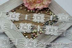 White guipure lace trim with belt pattern, venise lace trim, wedding lace trim, 1 3/4 inches wide, GL-48