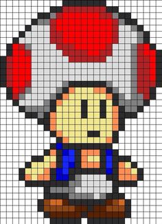 Game art 71705819050190373 - retro-gaming-champignon-super-mario-bros-geek-perles-hama-repasser Source by Pixel Art Toad, Pixel Art Mario, Kandi Patterns, Hama Beads Patterns, Beading Patterns, Perler Bead Mario, Perler Beads, Pixel Pattern, Pattern Art