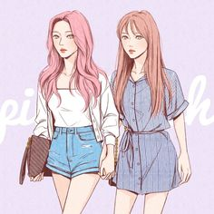 Best Friend Drawings, Anime Girlxgirl, Kpop, Besties, Chibi, Jimin, Disney Characters, Fictional Characters, Best Friends