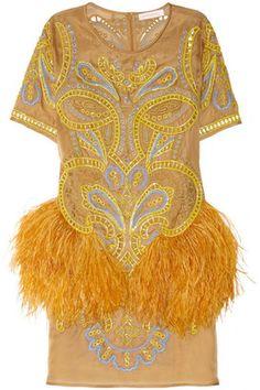 ShopStyle: Matthew Williamson Embroidered feather-trimmed silk-organza dress