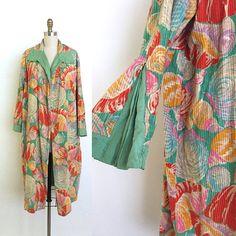 vintage 1920s coat   20s shell novelty print chenille duster coat