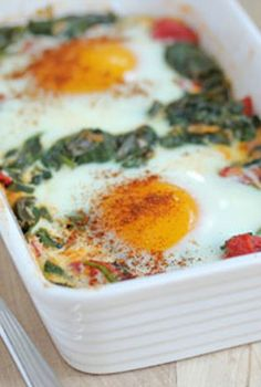 Baked Eggs with Spinach, Tomatoes and Garlic—for less than $5!