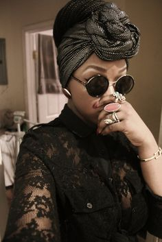 i love everything about this - lace, rings, the  turban & fabric, the shades!