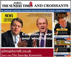 The Sunday Times and Croissants - coalition at war over wind farms, hot air blows away cabinet responsibilities