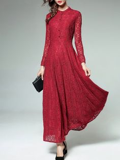 2a2b1c71 Buy Maxi Dress For Women from KAIMILAN at Stylewe. Online Shopping Stylewe  Red Stand Collar
