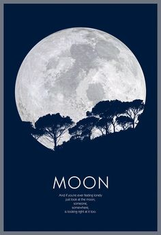 Moon poster, Full moon wall art, Moon quote poster, Trees silhouettes and moon poster, High quality digital file Simple Poster, Unique Poster, Event Poster Design, Graphic Design Posters, Moon Texture, Moon Logo, Look At The Moon, Nature Posters, Simple Prints