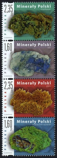 Poland - 2013 Minerals, Vertical Strip of 4 (MNH) Postage Stamp Art, Poland Travel, Going Postal, Vintage Stamps, Stamp Collecting, Rocks And Minerals, Malachite, Flora, Fossils