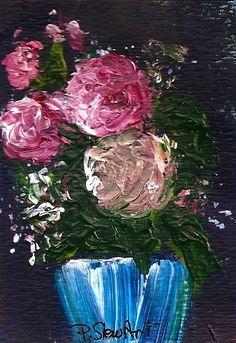 ACEO Roses Blue Vase Painterly Impasto Thick Paint Original SFA Penny StewArt #Impressionism