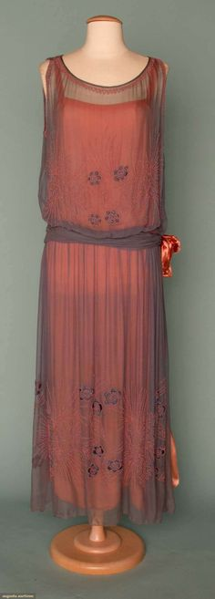 BEADED & EMBROIDERED PARTY DRESS, EARLY 1920s Powder blue chiffon over shrimp-pink crepe, pink opaque bead embroidery on chiffon, self waist sash