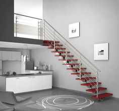 handrails for inside staircases | Interior, : Contemporary Staircase Decoration With Stainless Steel ...