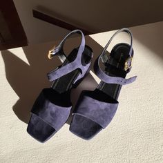 SANDALS   Celine, Platform mid heel sandals, navy suede (317783SPZC.07NY) via @jeanasohn