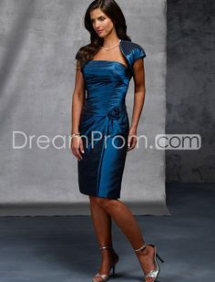 Concise Flower Knee-Length Strapless Mother of the Bride Dress