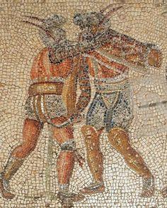 Zliten Mosaic of Murmillo vs. Thracian (2 A.D.) Roman floor mosaic, Zliten, Libya, on display at The Archaeological Museum of Tripoli