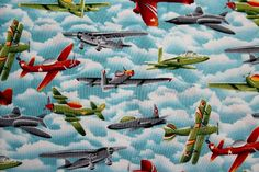 Selling off some of fabric stash. My loss is your gain.  Vintage Airplane Cotton Fabric 100% COTTON FABRIC ~ Nice for Quilting, Crafts,
