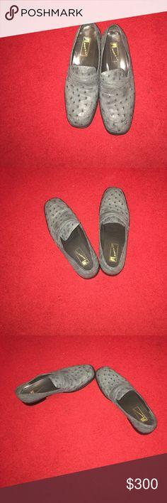 Marquez de Leon Ostrich shoe Man Gray Ostrich penny loafers marquez de leon Shoes Loafers & Slip-Ons