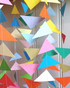 Geometric Paper Garland - Triangles Garland - Party Decor - Photo Prop - Paper Decoration - Birthday Decor - Choose Your Length and Colour