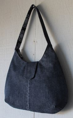 Denim Handbag with Front Magnetic Closure, Two Interior Pockets and Lined with Blue & White Kaleidoscope Inspired Soft Cotton 267778950 by AllintheJeans on Etsy