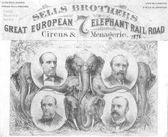 "The Sells Bros.' ""7 Elephant"" letterhead was used in 1878. ""Chalmer Condon's Letterheads,"" Bandwagon, Vol. 8, No. 1 (Jan-Feb), 1964, p. 11."