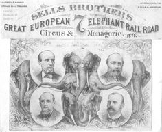 "The Sells Bros.' ""7 Elephant"" letterhead was used in 1878. ""Chalmer Condon's Letterheads,"" Bandwagon, Vol. 8, No. 1 (Jan-Feb), 1964, p. 11."