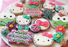 Sanrio Hello Kitty cookies Cookies For Kids, Fancy Cookies, Iced Cookies, Cute Cookies, Sugar Cookies, Hello Kitty Cookies, Hello Kitty Cake, Hello Kitty Birthday, Cookie Frosting