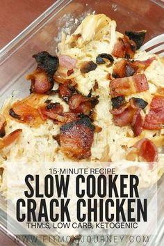 Slow Cooker Crack Chicken - Keto Recipes - Ideas of Keto Recipes - Have a busy night ahead of you? Make Slow Cooker Crack Chicken (THM:S Low Carb Ketogenic) in less than 5 minutes in the morning 10 minutes at night! Ketogenic Recipes, Diet Recipes, Cooking Recipes, Healthy Recipes, Recipes Dinner, Recipies, Dessert Recipes, Slimfast Recipes, Atkins Recipes