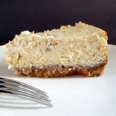 rich and creamy roasted banana cheesecake with a walnut and wafer cookie crust