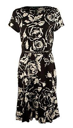 e241bcd919d Lauren Ralph Lauren Womens Plus Floral Print Knee-Length Flounce Dress B/W  3X at Amazon Women's Clothing store: