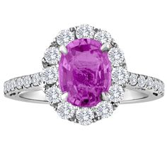 Certified 2.06Ct Oval Pink Sapphire Diamond 18K Gold RIng | From a unique collection of vintage engagement rings at https://www.1stdibs.com/jewelry/rings/engagement-rings/