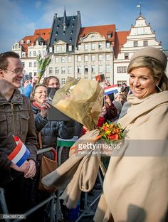 Queen Maxima visits Prime Minister Tillich in the Altes Rathuis during the 4 day visit to Germany on Feb. 9, 2017 in Leipzig.