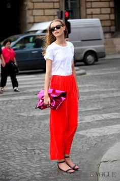 even a plain white tee looks chic when paired with a maxi
