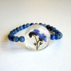 Forget Me Nots and Aventurine - Real Flower Garden Stretch Bracelet - Pressed flower, myosotis, something blue,  natural, casual, ooak, gift...